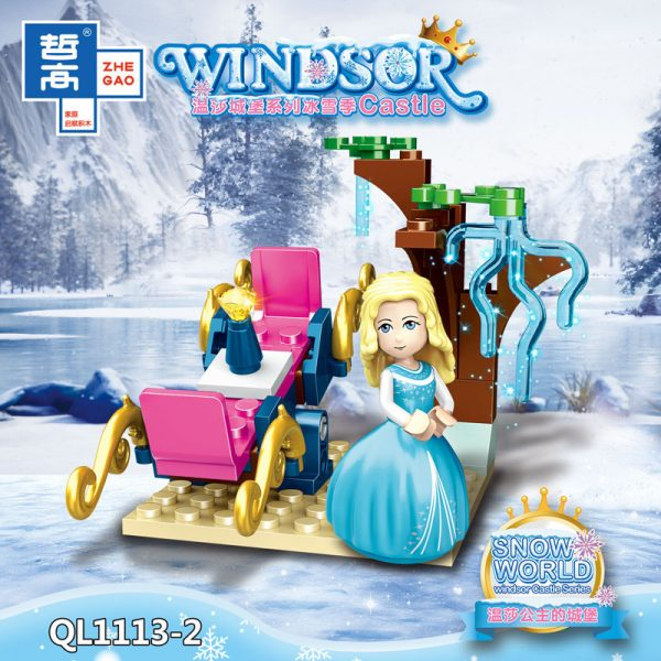 ZHEGAO QL1113 Windsor Castle Series Ice and Snow Season: Princess Ice and Snow Park 8 combinations. 2