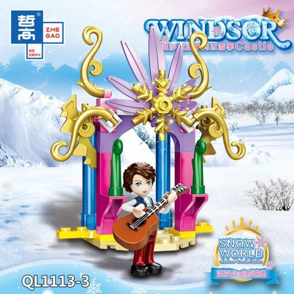 ZHEGAO QL1113 Windsor Castle Series Ice and Snow Season: Princess Ice and Snow Park 8 combinations. 3
