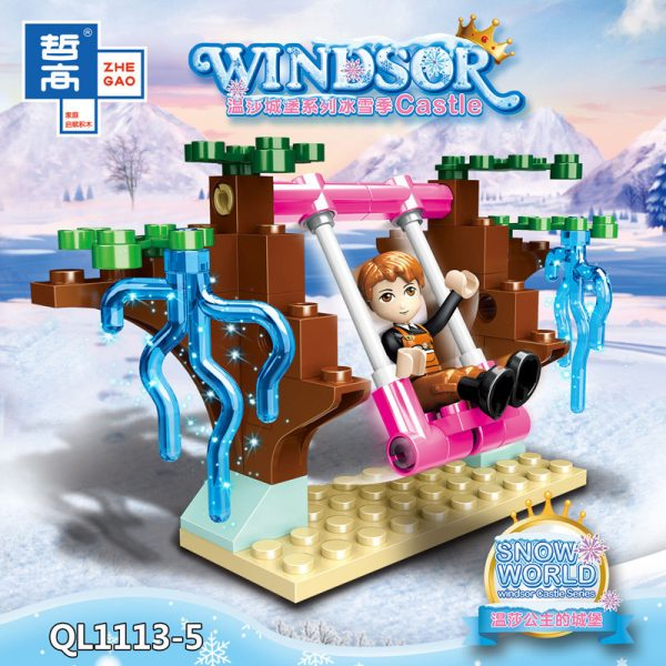 ZHEGAO QL1113 Windsor Castle Series Ice and Snow Season: Princess Ice and Snow Park 8 combinations. 5