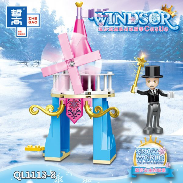 ZHEGAO QL1113 Windsor Castle Series Ice and Snow Season: Princess Ice and Snow Park 8 combinations. 8