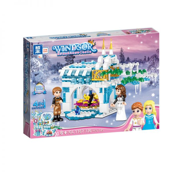 ZHEGAO QL1167 Windsor Castle Series Ice and Snow Season: Luxury Ice and Snow Link Castle 4 combinations 6