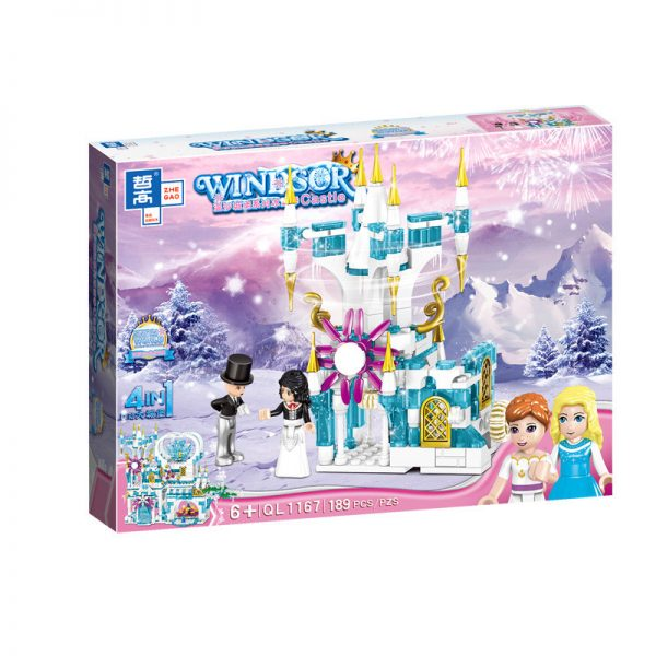 ZHEGAO QL1167 Windsor Castle Series Ice and Snow Season: Luxury Ice and Snow Link Castle 4 combinations 7