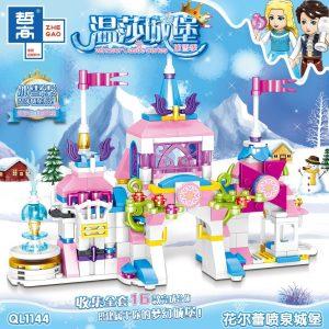 ZHEGAO QL1144 Windsor Castle Series Ice and Snow Season: Flemy Fountain Castle 0