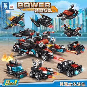 ZHEGAO QL0257 Special Police Corps: Special Police Unit Special Police Unit Combat Vehicle 8in1 0